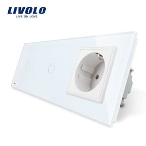 Intrerupator LIVOLO simplu+simplu cu touch si priza din sticla imagine