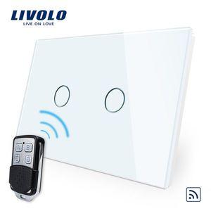 Intrerupator dublu wireless cu touch Livolo din sticla si telecomanda inclusa-standard italian imagine