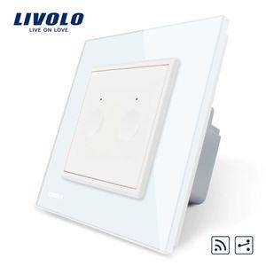 Intrerupator dublu cap scara / cap cruce wireless Livolo din sticla, Serie noua imagine