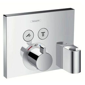 Baterie dus termostatata Hansgrohe ShowerSelect cu 2 functii si agatatoare dus, montaj incastrat, necesita corp ingropat imagine
