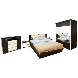 Set Dormitor Laguna cu pat 160x200 cu somiera rabatabila, Wenge/Vanilie imagine