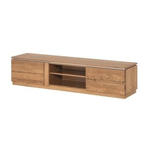 Comoda TV din lemn si furnir, cu 2 usi Montenegro 25 Medium Stejar Rustic, l163xA42xH38 cm imagine