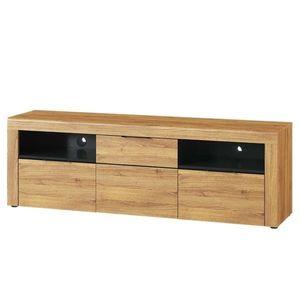 Comoda TV din pal cu 2 sertare si 1 usa Large Kama 25 Stejar / Negru, l171xA40xH56 cm imagine