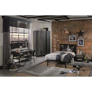 Set Mobila dormitor din pal si metal, pentru tineret 5 piese Dark Metal Black / Graphite imagine