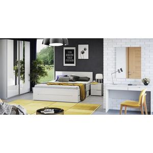 Set Mobila Dormitor din pal si MDF, 5 piese Gabrielle Alb, 200 x 160 cm imagine