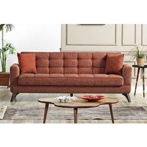 Canapea extensibila cu lada de depozitare, tapitata cu stofa 3 locuri Los Angeles Caramiziu K1, l220xA84xH86 cm imagine