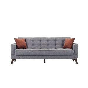 Canapea extensibila cu lada de depozitare, tapitata cu stofa 3 locuri Los Angeles Gri K2, l220xA84xH86 cm imagine