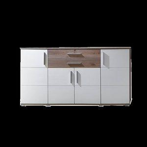 Comoda din pal si MDF, cu 2 sertare si 4 usi Jenise Alb / Stejar, l171xA50xH102 cm imagine