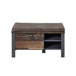 Banca tapitata cu piele ecologica, cu 1 sertar Chelsea Maro / Grafit, l94xA40xH49 cm imagine
