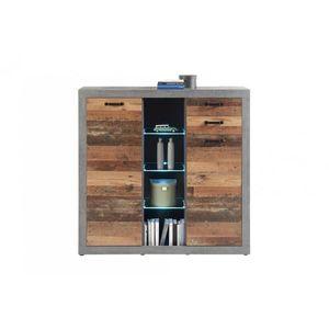 Vitrina din pal, cu 2 sertare si 2 usi Inez Gri / Natur, l137xA37xH134 cm imagine
