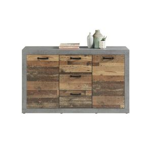 Comoda din pal, cu 3 sertare si 2 usi Inez Gri / Natur, l147xA37xH88 cm imagine