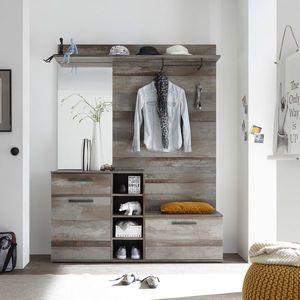 Dulap hol cu oglinda si cuier, din pal cu 2 usi si 1 sertar, Emelia Natur, l150xA38xH200 cm imagine