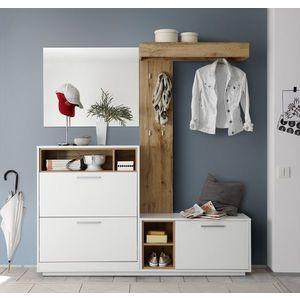 Dulap hol cu oglinda, cuier si pantofar, din pal cu 3 usi, Millie Alb / Natur, l177xA32xH195 cm imagine