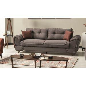 Canapea extensibila cu lada de depozitare, tapitata cu stofa si piele ecologica, 3 locuri Marla Gri K1, l254xA96xH85 cm imagine