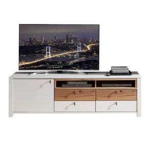 Comoda TV din pal si MDF cu 4 sertare si 1 usa, Selina Alb / Natur, l192xA47xH58 cm imagine