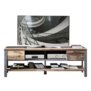 Comoda TV din pal, cu 2 sertare Chelsea Natural / Grafit, l189xA50xH58 cm imagine