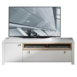 Comoda TV din pal si MDF cu 1 sertar si 1 usa, Selina Alb / Natur, l162xA47xH51 cm imagine