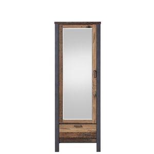Dulap hol din pal cu oglinda, 1 usa si 1 sertar Chelsea Natural / Grafit, l69xA40xH194 cm imagine