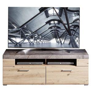 Comoda TV din pal si MDF, cu 2 sertare Skylar Stejar, l140xA47xH51 cm imagine