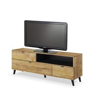 Comoda TV din pal, cu 3 usi Nest RTV-1 Stejar, l160xA40xH55 cm imagine