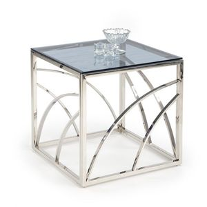 Masa de cafea din sticla si metal Universe Square Crom, L55xl55xH55 cm imagine