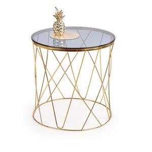 Masa de cafea din sticla si metal Selena Auriu, Ø55xH55 cm imagine
