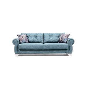 Canapea extensibila cu lada de depozitare, tapitata cu stofa 3 locuri Mito Turcoaz K2, l242xA96xH85 cm imagine