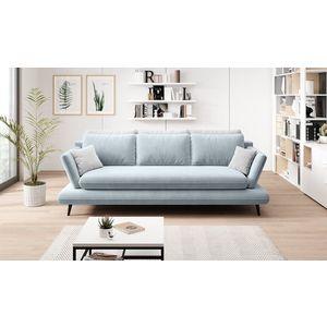 Canapea extensibila cu lada de depozitare, tapitata cu stofa 3 locuri Monte Bleu / Gri, l242xA110xH75 cm + Covor Bonus imagine