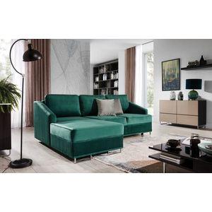 Coltar extensibil cu sezlong pe stanga, tapitat cu stofa, Bucco Verde, l225xA160xH76 cm imagine