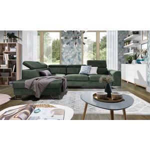 Coltar extensibil cu lada de depozitare, cu sezlong pe stanga, tapitat cu stofa, Asti Verde, l280xA225xH77 cm imagine