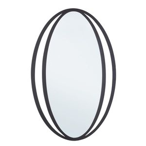 Oglinda decorativa cu rama metalica Nabila Negru, l51xH80 cm imagine