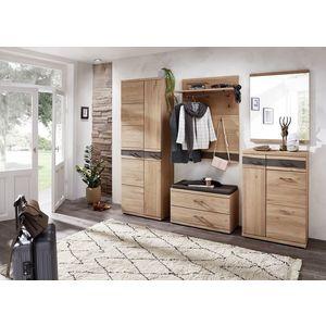 Set de mobila hol din furnir si lemn, 5 piese Crispin Natur imagine