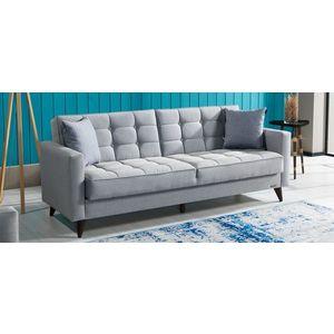 Canapea extensibila cu lada de depozitare, tapitata cu stofa 3 locuri Orlando Gri K1, l214xA84xH86 cm imagine