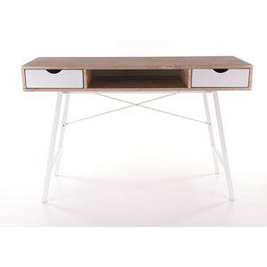 Masa de birou din MDF si metal, cu 2 sertare B-140 Stejar Sonoma / Alb, L120xl48xH76 cm imagine