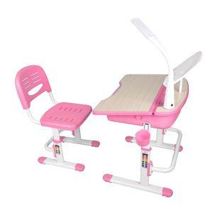 Set birou pentru copii cu lampa LED, reglabil pe inaltime Comfortline Roz, L70, 5xl54, 5xH54 cm imagine
