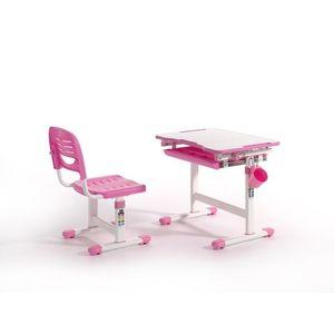 Set birou pentru copii, reglabil pe inaltime Comfortline Roz, L66, 4xl47, 4xH54 cm imagine