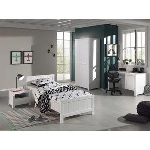 Set Mobila dormitor din lemn de pin si MDF, pentru copii 4 piese Erik Alb, 200 x 90 cm imagine