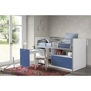 Pat etajat din pal si metal cu birou incorporat si 2 usi, pentru copii Bonny Alb / Albastru, 200 x 90 cm imagine