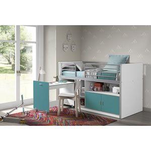 Pat etajat din pal si metal cu birou incorporat si 2 usi, pentru copii Bonny Alb / Turcoaz, 200 x 90 cm imagine