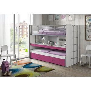 Pat etajat din pal si metal cu birou incorporat si sertar, pentru copii Bonny Alb / Fucsia, 200 x 90 cm imagine
