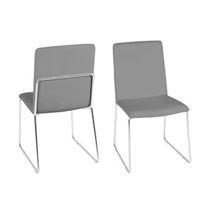 Set 4 scaune tapitate cu piele ecologica si picioare metalice Kitos Gri / Crom, l48, 5xA55xH88 cm imagine