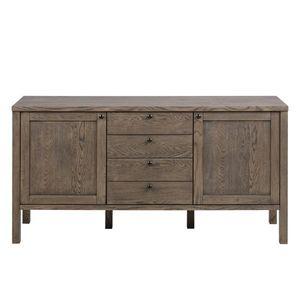 Comoda din lemn si furnir, cu 4 sertare si 2 usi Brentwood Gri, l160xA43xH81, 5 cm imagine