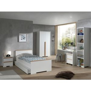 Set Mobila dormitor din lemn de fag si pal, pentru copii 7 piese London Alb / Natural, 200 x 90 cm imagine