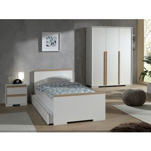 Set Mobila dormitor din lemn de fag si pal, pentru copii 4 piese London Alb / Natural, 200 x 90 cm imagine