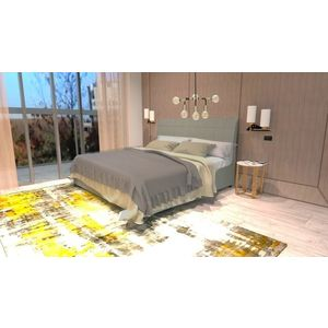 Pat tapitat cu stofa, Somiera Rabatabila si lada de depozitare, picioare din lemn, Madison Prestige, 200 x 160 cm imagine