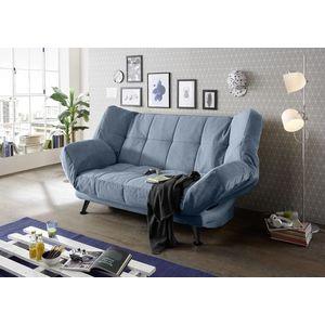 Canapea extensibila cu lada de depozitare, tapitata cu stofa, 3 locuri Ikaris 2 Albastru, l208xA98xH102 cm imagine