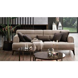 Canapea tapitata cu stofa, 3 locuri, cu functie sleep pentru 1 persoana Madrid Bej, l231xA102xH80 cm imagine