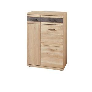 Cabinet hol din furnir si lemn, 2 usi si 1 sertar, Crispin Natur, l71xA39xH105 cm imagine