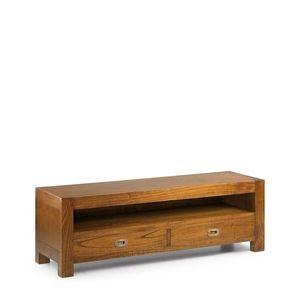Comoda TV din lemn, cu 2 sertare Star Nuc, l130xA40xH40 cm imagine