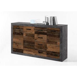 Comoda din pal, cu 4 sertare si 3 usi Inez Gri / Natur, l152xA37xH90 cm imagine